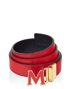 MCM - Women's Enamel Logo Buckle Leather Belt