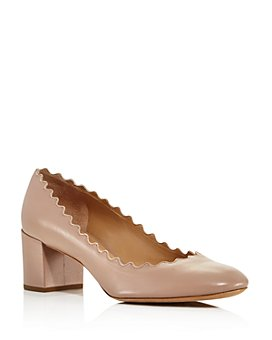 Chloé - Women's Lauren Scalloped Block-Heel Pumps