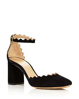 Chloé - Women's Lauren Scalloped Suede Ankle-Strap Pumps