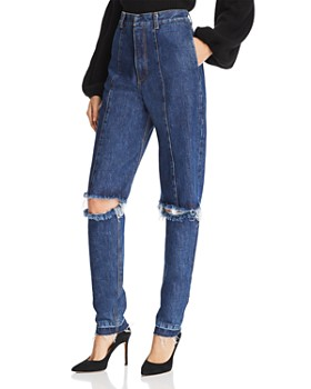Ksenia Schnaider - Cutout Straight Jeans in Medium Blue