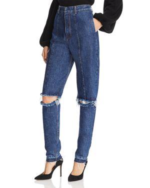 KSENIA SCHNAIDER Cutout Straight Jeans In Medium Blue