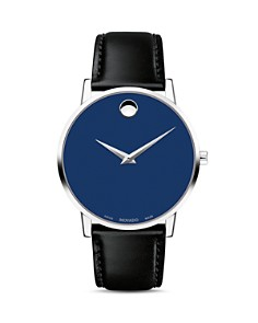 Movado - Museum Classic Blue Dial Leather Strap Watch, 40mm