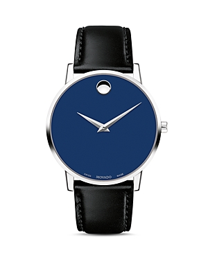 Movado Museum Classic Blue Dial Leather Strap Watch, 40mm-Jewelry & Accessories