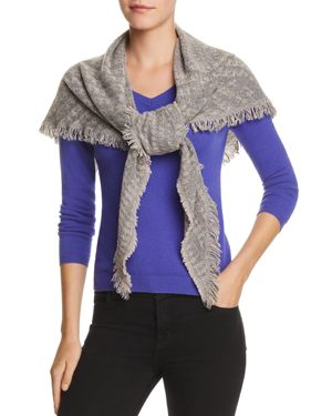 V FRAAS V Fraas Cozy Triangle Scarf in Mid Gray/Sand