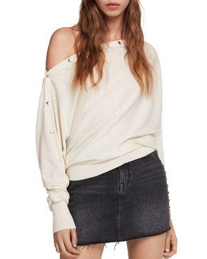 ALLSAINTS Elle Snap-Detail Sweater in Chalk White