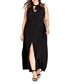 City Chic Plus - Makishi Tie-Neck Maxi Dress