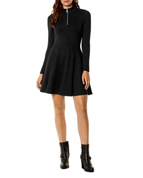 KAREN MILLEN - Half-Zip Fit-and-Flare Dress
