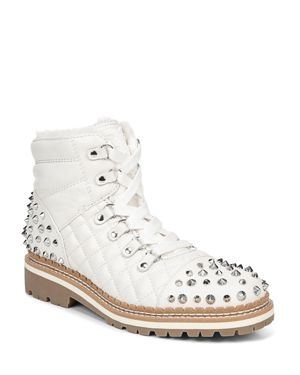 SAM EDELMAN Women'S Bren Quilted Studded Hiking Boots in Bright White Leather
