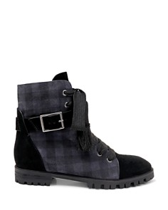 Splendid - Women's Celine Plaid Suede Lace Up Booties