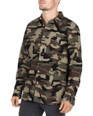 BARNEY COOLS Heritage Camouflage-Print Corduroy Regular Fit Shirt in Camo Corduroy