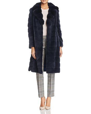Maximilian Furs - Plucked Mink Fur Coat with Chinchilla Fur Trim - 100% Exclusive