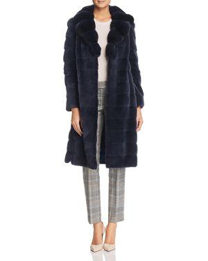 MAXIMILIAN FURS Plucked Mink Fur Coat With Chinchilla Fur Trim - 100% Exclusive in Denim Blue