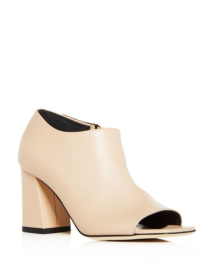 Via Spiga - Women's Eladine Leather Open Toe Block-Heel Booties