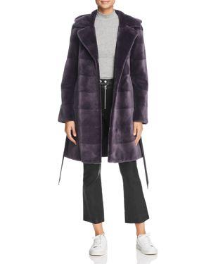 MAXIMILIAN FURS Reversible Hooded Sheared Mink Fur Coat in Lavender