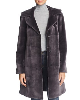 Maximilian Furs - Reversible Hooded Sheared Mink Fur Coat