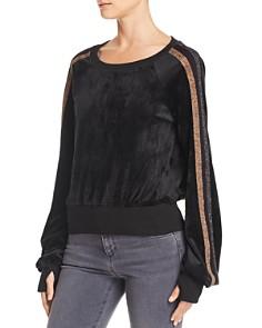 PAM & GELA - Metallic Track Stripe Velour Sweatshirt