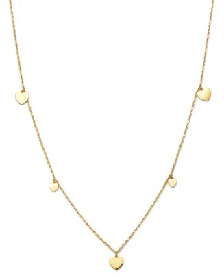 "14 K Yellow Gold Heart Station Necklace, 17""   100 Percents Exclusive by Moon & Meadow"