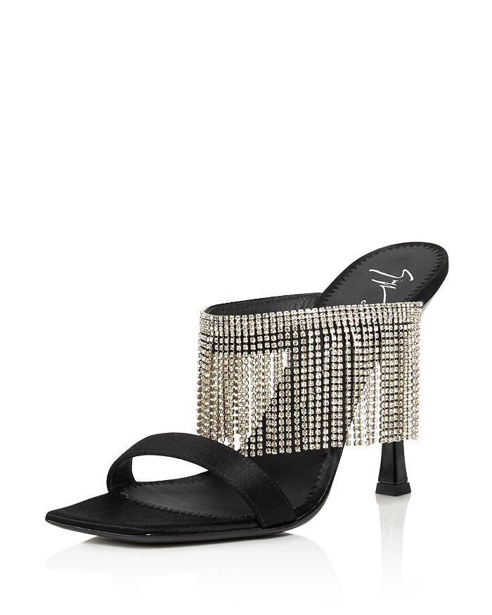 Giuseppe Zanotti - Women's Asymmetrical Toe Crystal Fringe High-Heel Slide Sandals