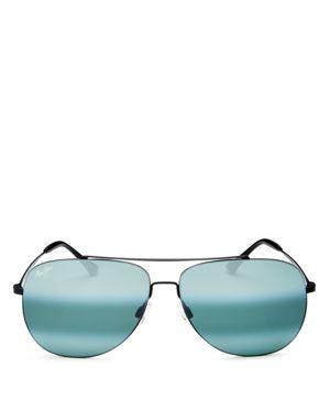 MAUI JIM Cinder Cone 58Mm Polarizedplus2 Aviator Sunglasses - Matte Black/ Neutral Grey