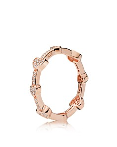PANDORA - Alluring Hearts Rose Gold Tone-Plated Sterling Silver Ring