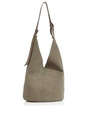 STEVEN ALAN Etta Large Leather Hobo in Brown/Silver