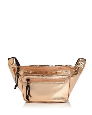 SOL & SELENE Hands Down Medium Nylon Belt Bag in Rose Gold/Black