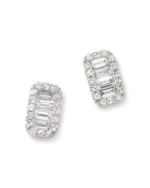 KC DESIGNS 14K White Gold Mosaic Diamond Stud Earrings