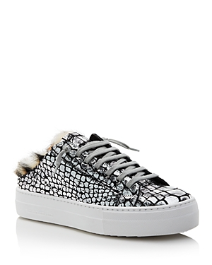 P448 WOMEN'S CLARA CRACKLED LEATHER OPEN BACK PLATFORM SNEAKERS