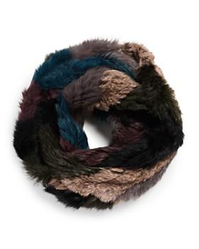 Jocelyn - Color-Block Knit Rabbit Fur Infinity Scarf