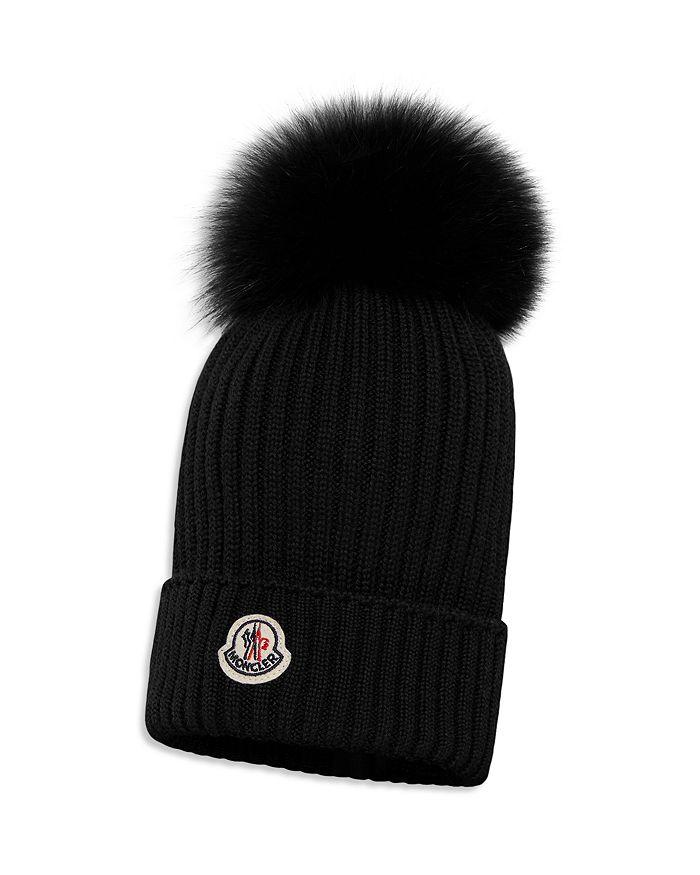 Moncler - Unisex Ribbed Fur-Pom Hat - Little Kid, Big Kid
