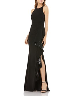 Carmen Marc Valvo Infusion - Sequined Ruffle Crepe Gown