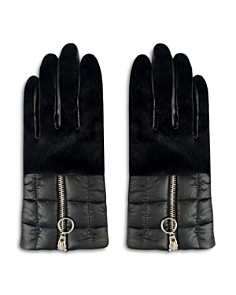 ARISTIDES Rabbit Fur-Trim Puffer Gloves - Bloomingdale's_0