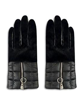 ARISTIDES - Rabbit Fur-Trim Puffer Gloves