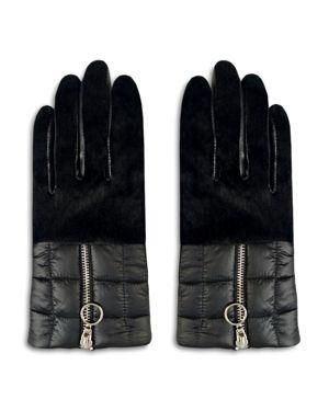 ARISTIDES Rabbit Fur-Trim Puffer Gloves in Black