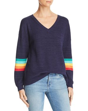 HONEY PUNCH Rainbow-Sleeve Sweater in Navy