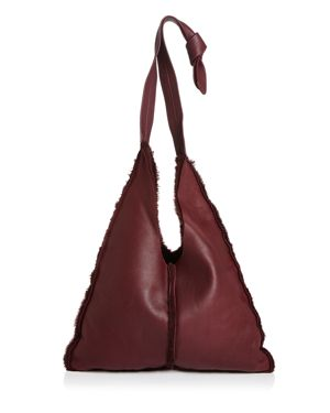 ARRON Small Shearling Shoulder Bag in Burgundy Red