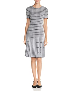 St. John - Geometric Ottoman-Knit Dress