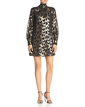 Milly Sherie Metallic-Print Mini Dress