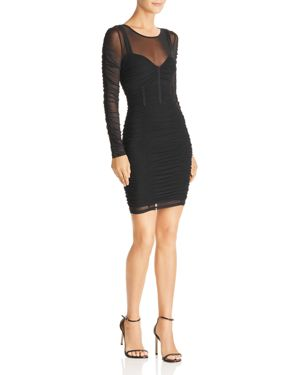 GUESS Veronica Long-Sleeve Ruched Dress in Jet Black