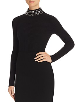 C by Bloomingdale's - Embellished Cashmere Mock-Neck Sweater - 100% Exclusive