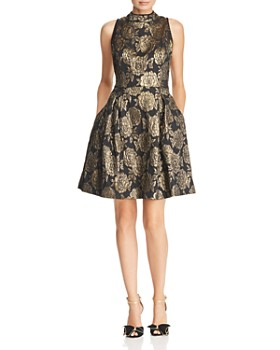 Nanette Lepore Metallic Fl Damask Dress
