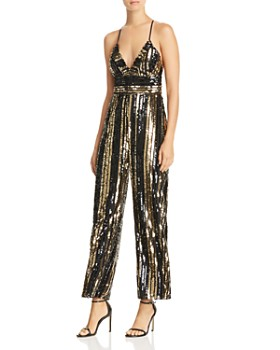 Bardot - Goldie Sequin-Stripe Jumpsuit