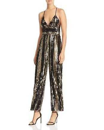 Bardot - Goldie Sequin-Stripe Jumpsuit