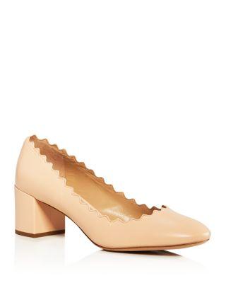 Women's Lauren Scalloped Leather Block Heel Pumps by Chloé