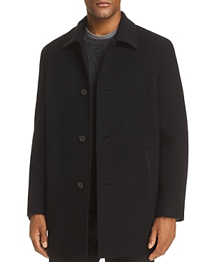 Top off fall and winter looks with this handsome wool-blend coat, softened with a touch of cashmere. Cole Haan keeps the look minimal and clean, with leather accents to finish.