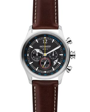 Nautical Chronograph Leather Strap Watch, 42Mm, Grey/ Dark Brown