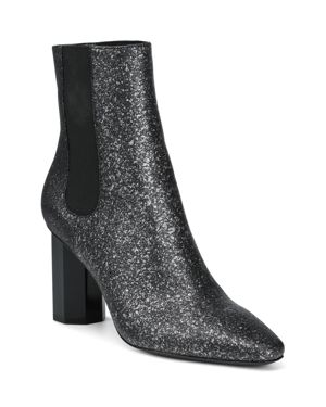DONALD PLINER Women'S Laila Pointed Toe Glitter Suede Booties in Silver Glitter Suede