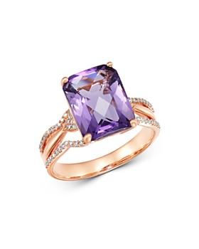Bloomingdale's - Amethyst & Diamond Ring in 14K Rose Gold - 100% Exclusive