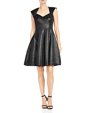 Halston Heritage Metallic Jacquard Fit-and-Flare Dress