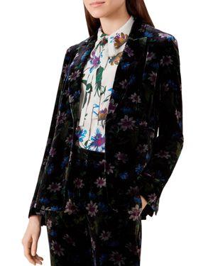 Passionflower Velvet Blazer in Black Multi